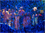 Country Singer Brad Paisley in Concert During Downpour